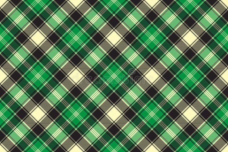 Nahtloses Muster des grünen diagonalen Gewebebeschaffenheits-Schottenstoffs lizenzfreie abbildung