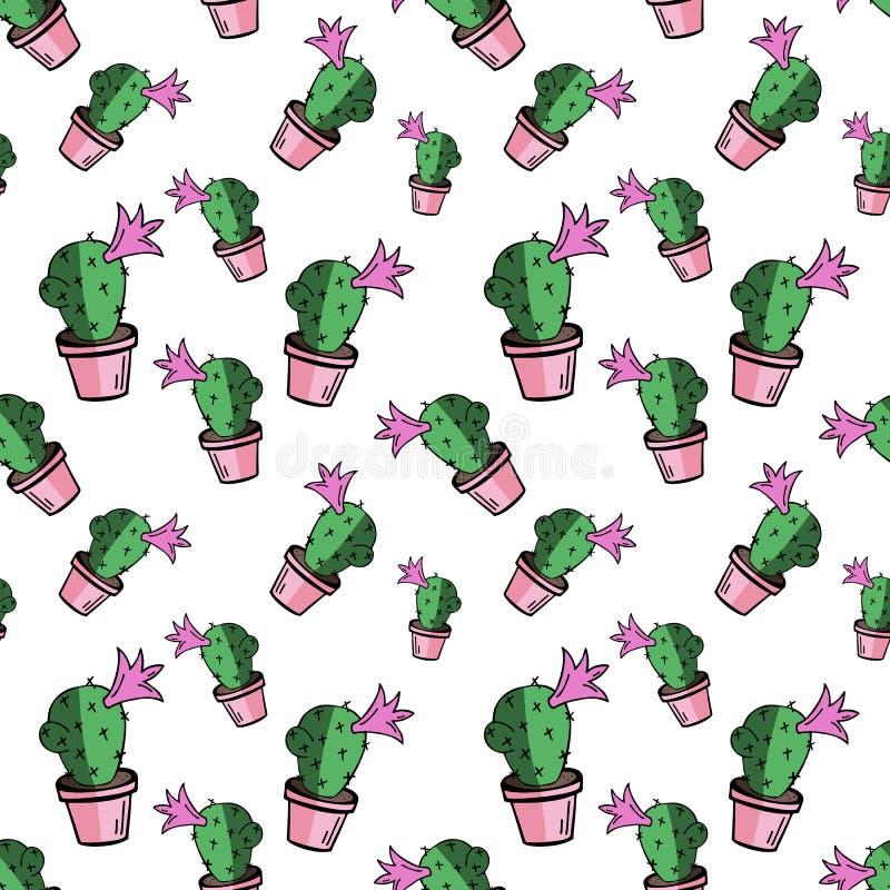 Nahtloses Muster des grünen flachen Vektorhauptkaktus im rosa Topf lizenzfreie abbildung