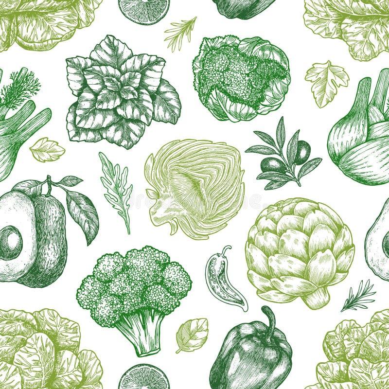 Nahtloses Muster des grünen Gemüses Handsketched-Weinlesegemüse Zeile Kunstabbildung Auch im corel abgehobenen Betrag vektor abbildung