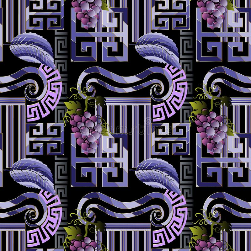 Nahtloses Muster des griechischen dekorativen Vektors Abstrakte Verzierung 3d lizenzfreie abbildung
