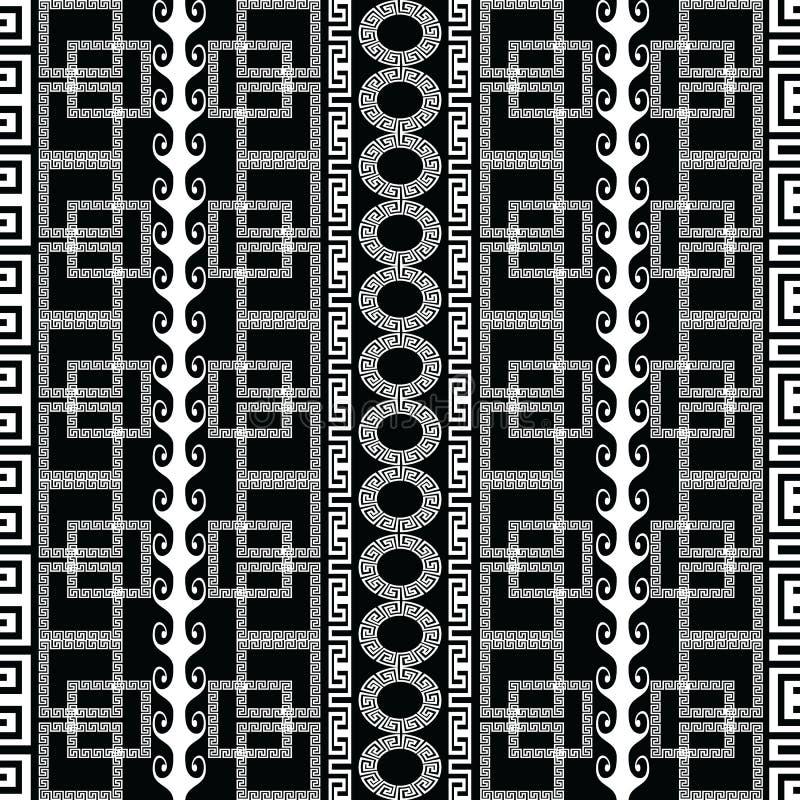 Nahtloses Muster des griechischen geometrischen Schwarzweiss-Vektors modern lizenzfreie abbildung