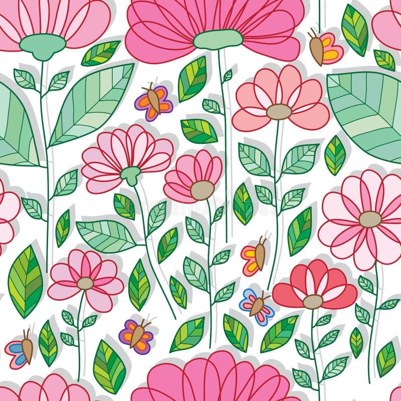 Nahtloses Muster des großen kleinen Schmetterlinges des Blumenelements stock abbildung