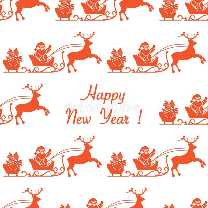 Nahtloses Muster des guten Rutsch ins Neue Jahr 2019 Weihnachtsmann _2 vektor abbildung