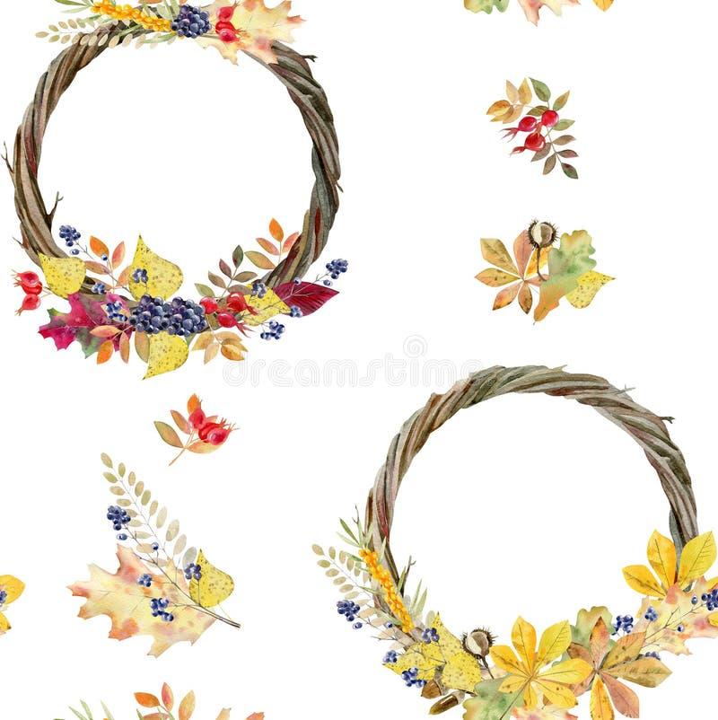 Nahtloses Muster des handgemalten Aquarells des Herbstlaubs lizenzfreie abbildung