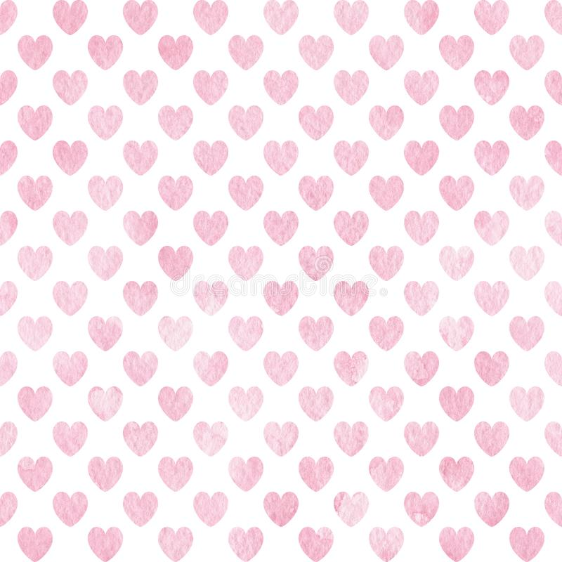 Nahtloses Muster des handgemalten Aquarells mit netten rosa Herzen lizenzfreie abbildung