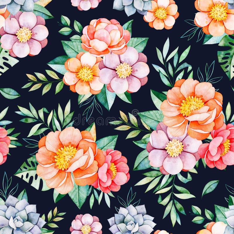 Nahtloses Muster des handgemalten Aquarells mit Pfingstrosen, Blume, Succulents, tropische Blätter lizenzfreie abbildung