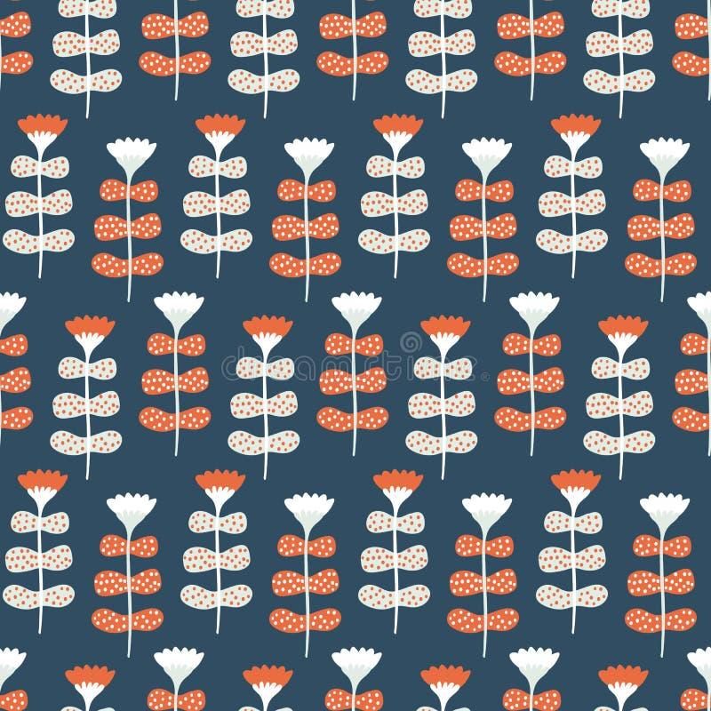 Nahtloses Muster des handgemalten vektors des gro?en Umfangs Blumen Korallenroter Hintergrund der Knickente Stilisierte Volkskuns lizenzfreie stockfotografie