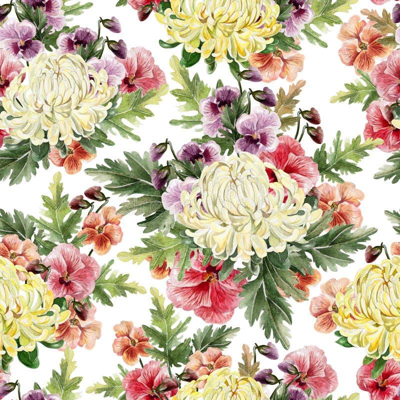Nahtloses Muster des hellen Aquarellherbstes mit Blumen der Chrysantheme und der Veilchen lizenzfreie abbildung