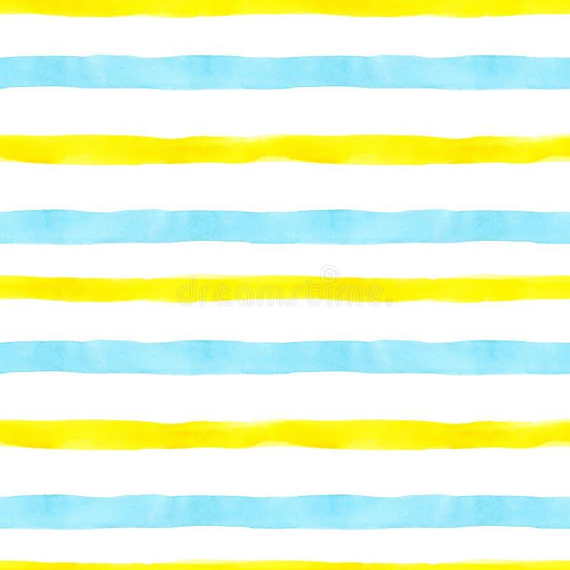 Nahtloses Muster des hellen Aquarells mit den gelben und hellblauen horizontalen Streifen und den Linien auf weißem Hintergrund G stockfotos