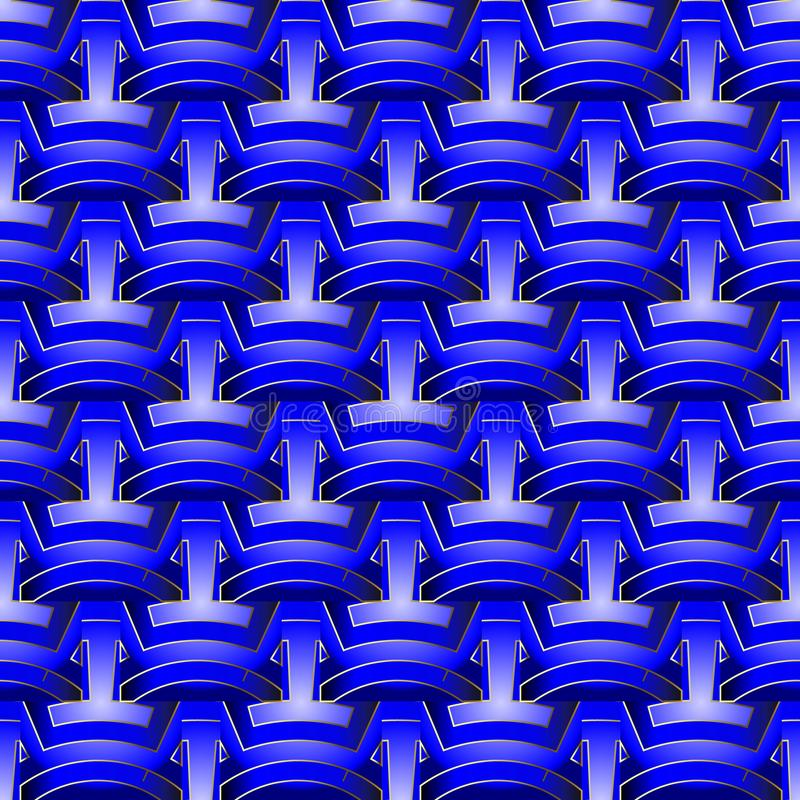 Nahtloses Muster des hellen blauen abstrakten geometrischen Vektors 3d Oberfläche maserte dekorativen Hintergrund Geflochtene geo vektor abbildung
