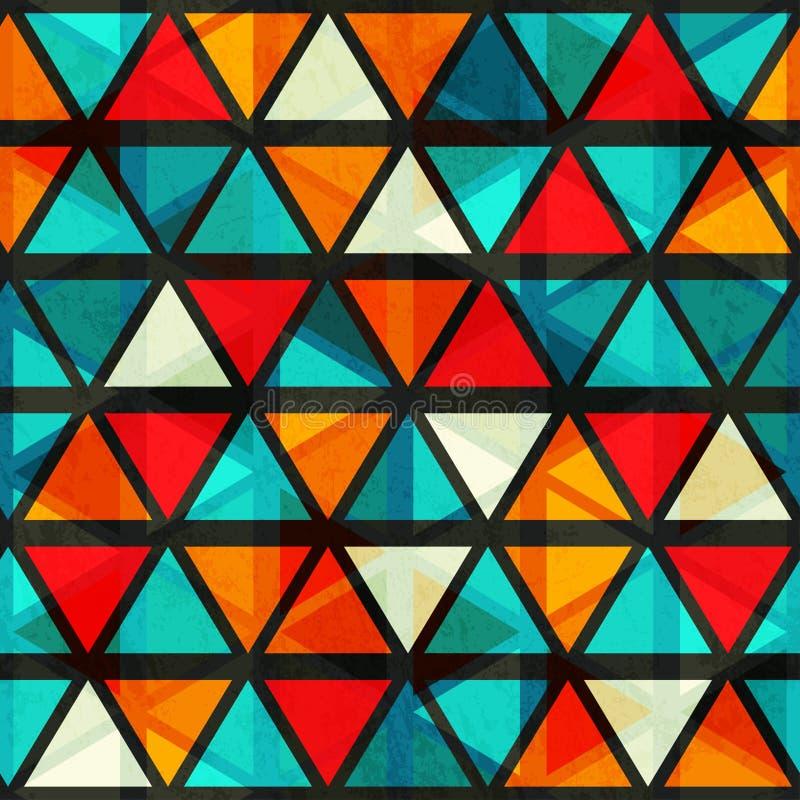 Nahtloses Muster des hellen Dreiecks der Weinlese mit Schmutzeffekt vektor abbildung