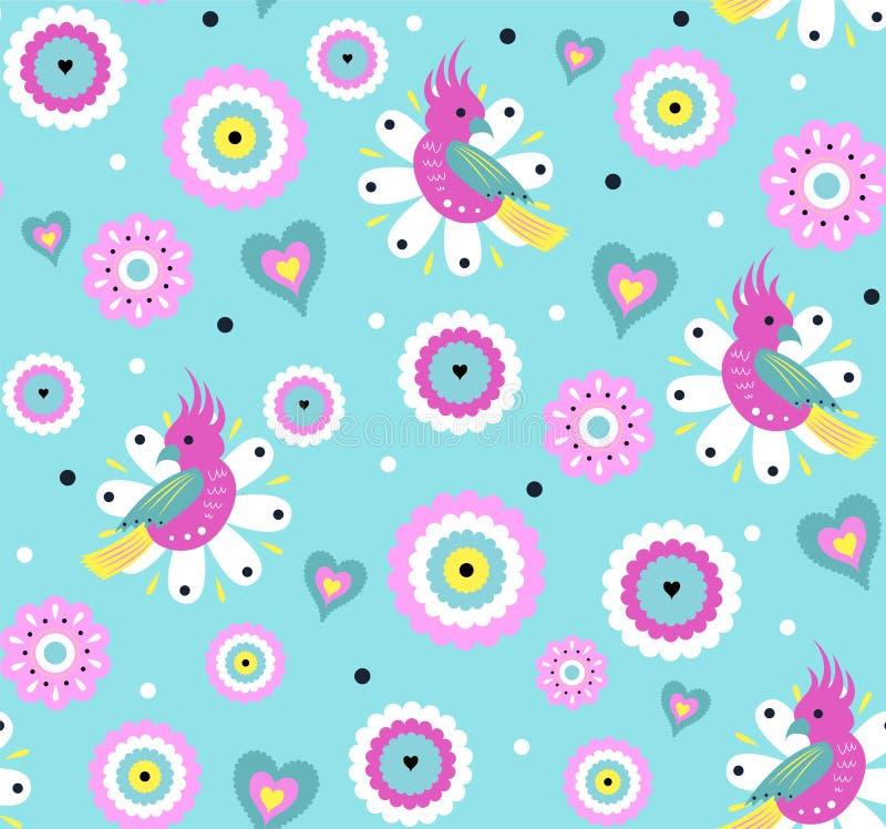 Nahtloses Muster des hellen Vektors mit nettem Papageien und exotischen tropischen Blumen lizenzfreie abbildung