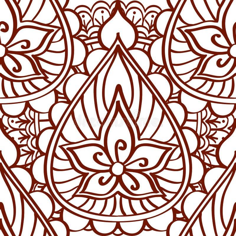 Nahtloses Muster des Hennastrauches von braunen Linien auf einem weißen Hintergrund Ethnische indische Artverzierungstätowierung lizenzfreie abbildung