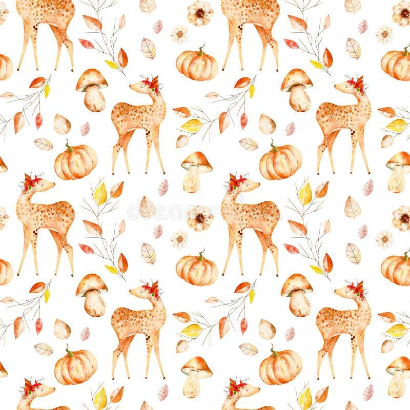 Nahtloses Muster des Herbstaquarells lizenzfreie stockfotos