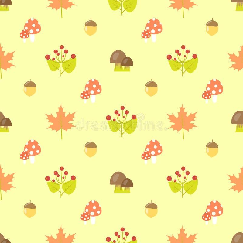 Nahtloses Muster des Herbstbeeren-Pilzes lizenzfreie abbildung
