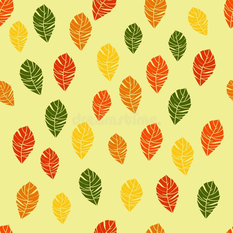 Nahtloses Muster des Herbstes färbte Blätter Vektor stock abbildung