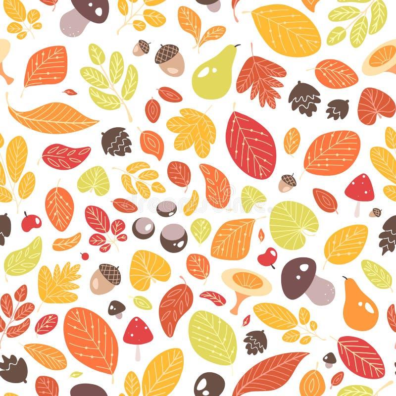 Nahtloses Muster des Herbstes mit gefallenen Blättern oder getrocknetes Laub, Eicheln, Früchte, Nüsse und Pilze auf weißem Hinter stock abbildung