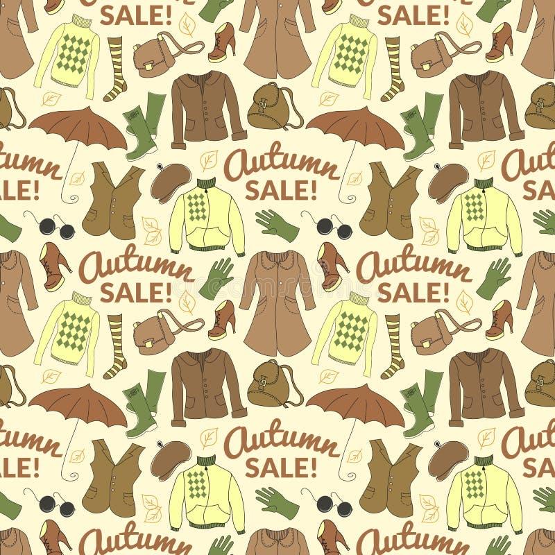 Nahtloses Muster des Herbstverkaufs mit Jahreszeitfrauen stock abbildung