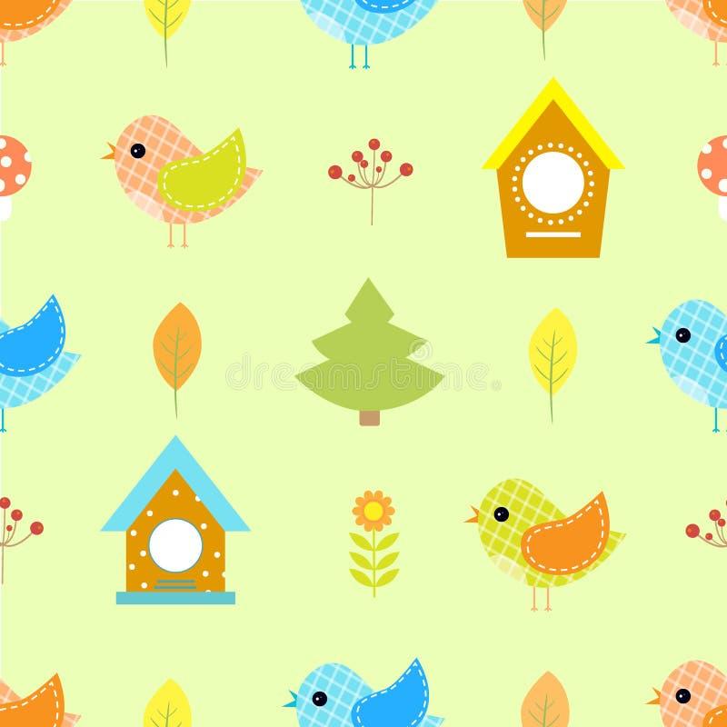 Nahtloses Muster des Herbstvogels für Kindervogelhaus, Haus vektor abbildung
