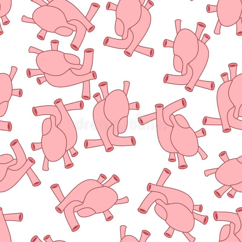 Nahtloses Muster des Herzanatomie-Körpers Das Atrium betreffendes und Kammer-patt lizenzfreie abbildung