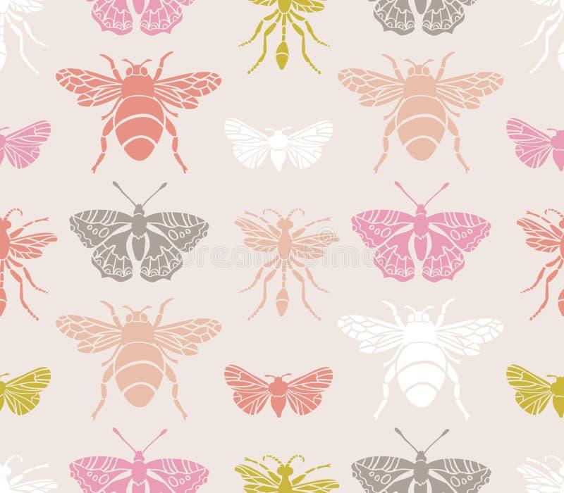 Nahtloses Muster des Hippies mit Insekten Abstrakte dreieckige Art stock abbildung
