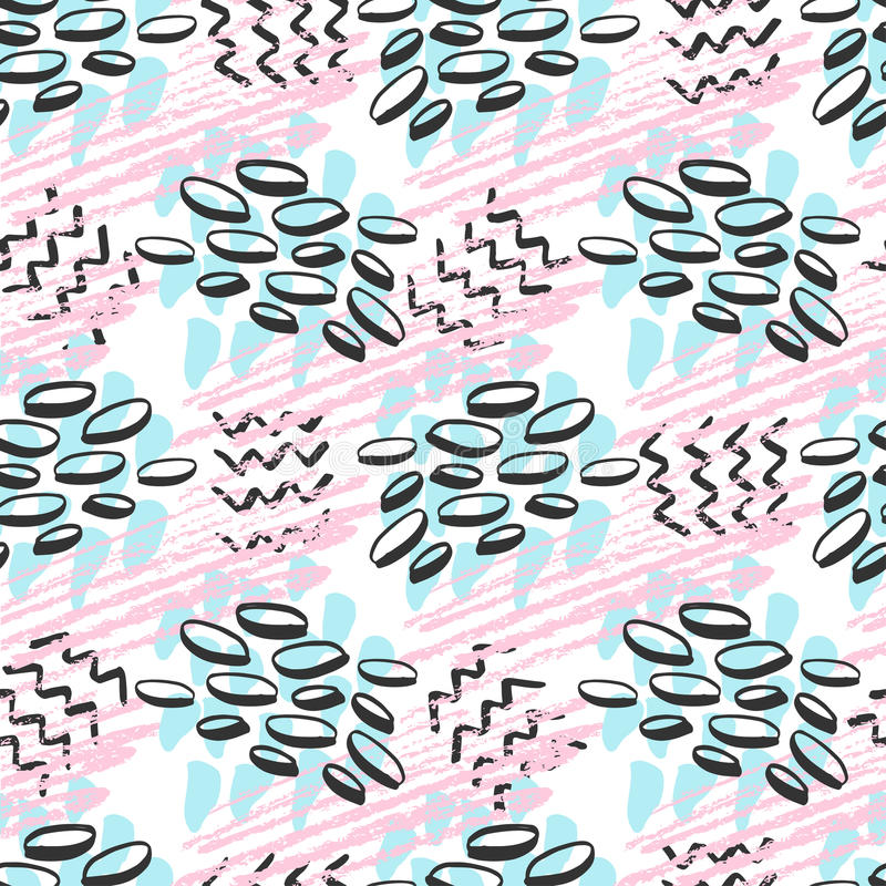 Nahtloses Muster des Hippies Modehintergrund in den rosa und blauen Farben Vektor für Druck, Gewebe, Gewebe, wickelnd ein stock abbildung