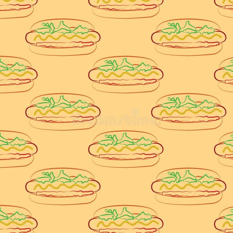 Nahtloses Muster des Hotdogs und der Schale mit einem Stroh vektor abbildung