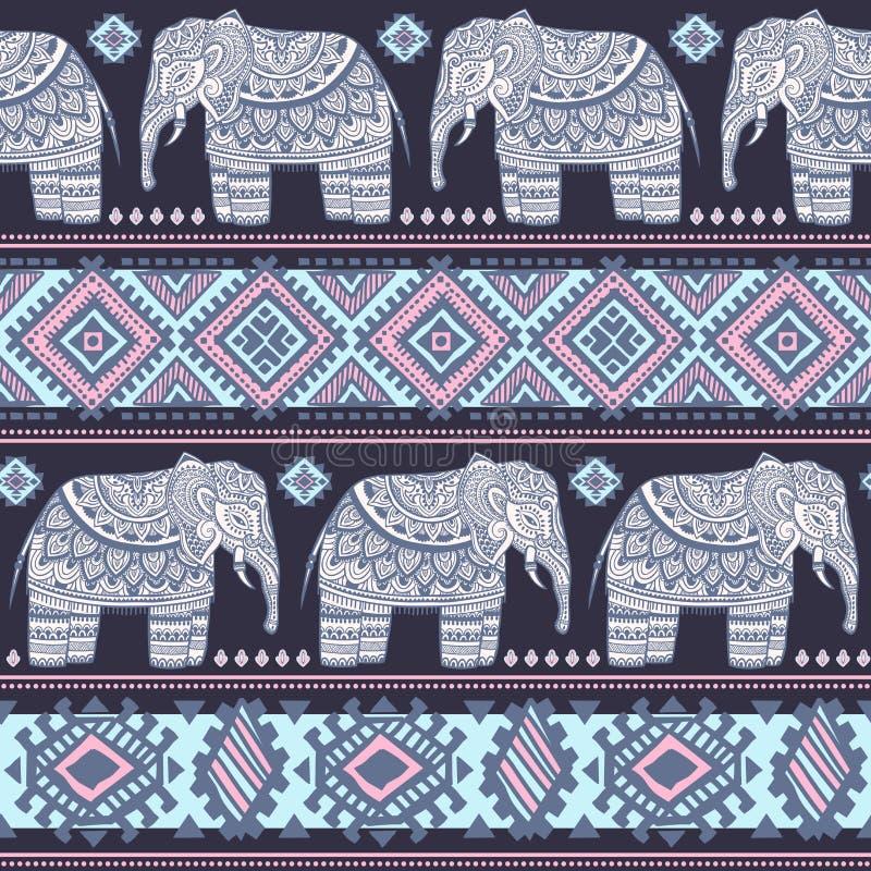 Nahtloses Muster des indischen Elefanten der Weinlese mit Stammes- Verzierungen vektor abbildung