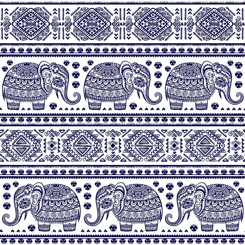 Nahtloses Muster des indischen Elefanten der Weinlese mit Stammes- Verzierungen lizenzfreie abbildung