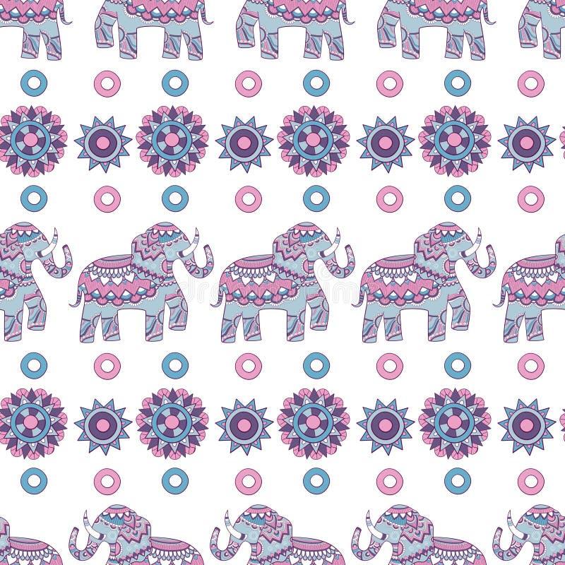 Nahtloses Muster des indischen Elefanten Verzierter farbiger Tierhintergrund der Illustrationen indischer Vektor stock abbildung