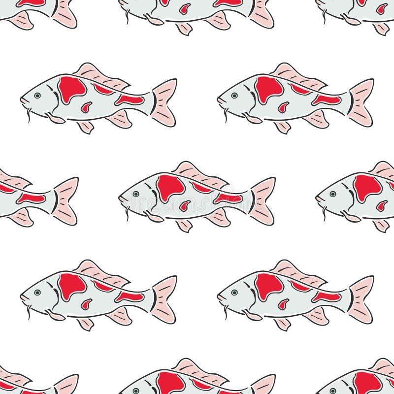 Nahtloses Muster des japanischen Karpfen koi Charakterzusammenfassungshandgezogenen Vektors Das M?dchen in einer Klage des reizen stock abbildung