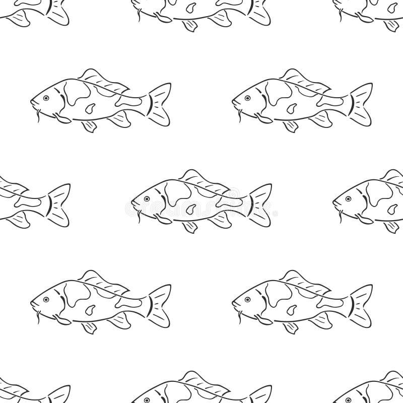 Nahtloses Muster des japanischen Karpfen koi Charakterzusammenfassungstintenhandgezogenen Vektors Retro- Abbildung Frischwasserfl lizenzfreie abbildung