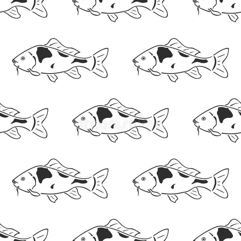 Nahtloses Muster des japanischen Karpfen koi Charakterzusammenfassungstintenhandgezogenen Vektors Retro- Abbildung Frischwasserfl vektor abbildung