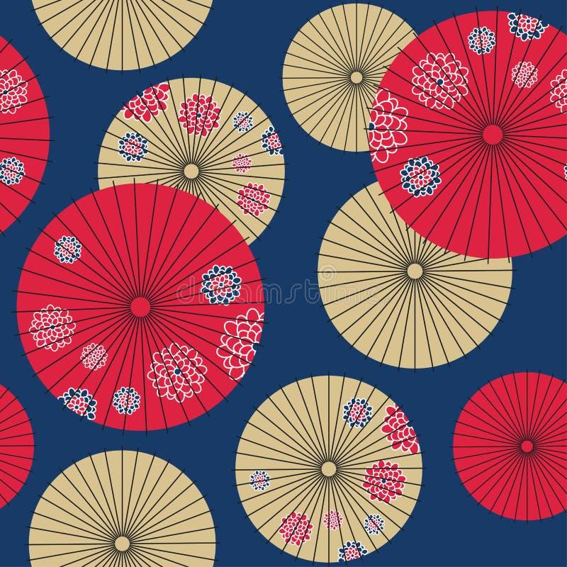 Nahtloses Muster des japanischen Regenschirmes lizenzfreie abbildung