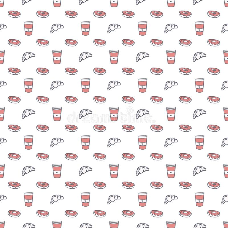 Nahtloses Muster des Kaffee- und Bonbonvektors Papierschale zu gehen, Hörnchen und Schaumgummiringe grau und rosa Hintergrund lizenzfreie abbildung