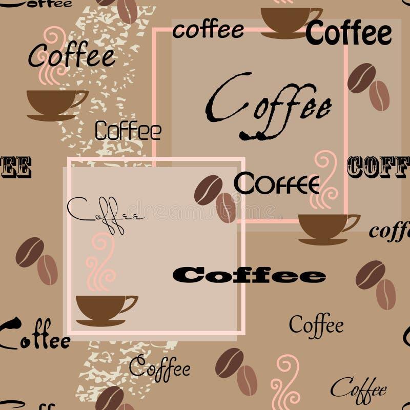 Nahtloses Muster des Kaffees lizenzfreie abbildung