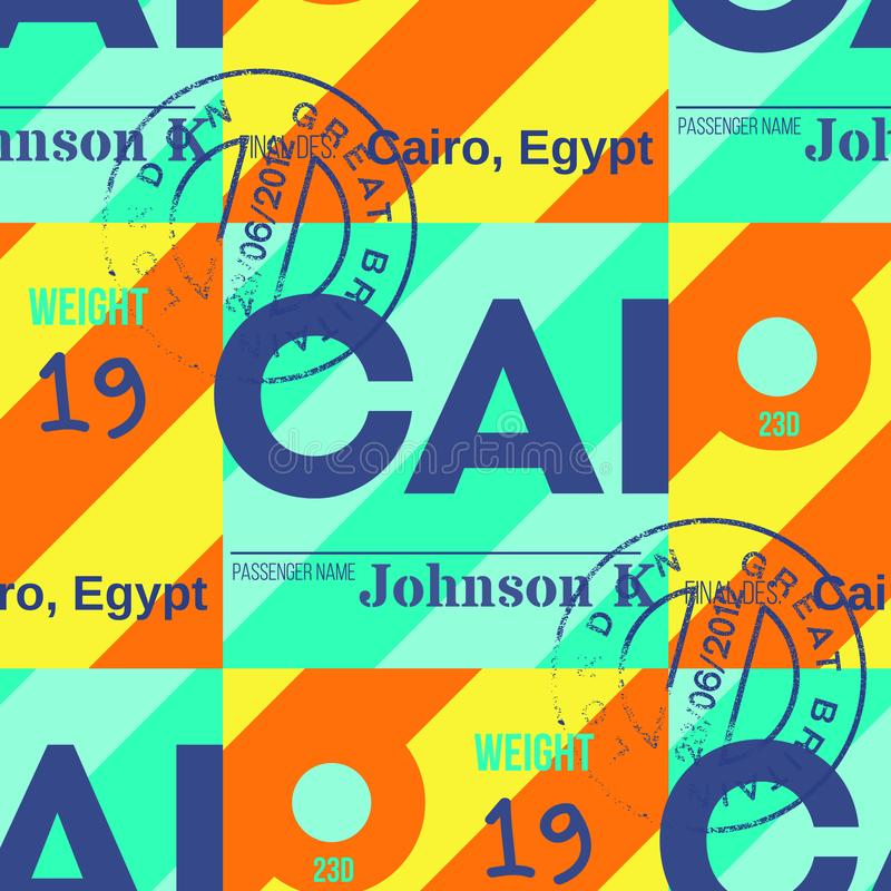 Nahtloses Muster des Kairo-Flughafentags stock abbildung