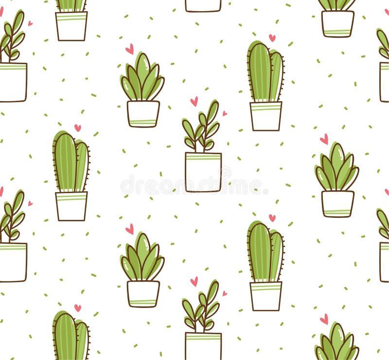 Nahtloses Muster des Kaktus in der kawaii Gekritzelart-Vektorillustration lizenzfreie abbildung