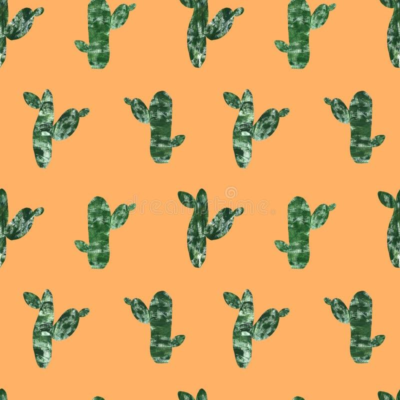 nahtloses Muster des Kaktus lokalisiert auf Leuchtorangehintergrund handgemalte Kakteen eingestellt in Collagenpapier-Schnittart  stock abbildung