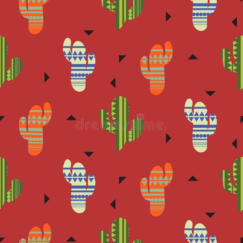 Nahtloses Muster des Kaktuspflanzevektors Mexikanischer Artfarbkaktus-Textildruck stock abbildung