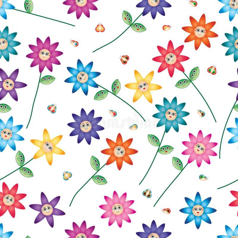 Nahtloses Muster des Karikaturblatt-Schmetterlingsblumen-Lächelnstammes vektor abbildung