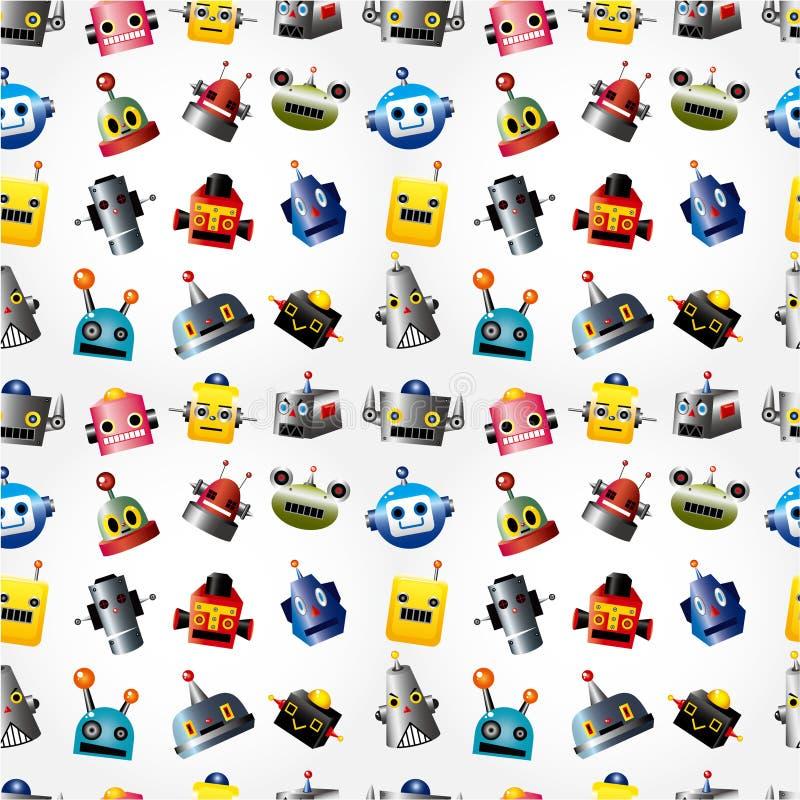 Nahtloses Muster des Karikaturroboter-Gesichtes stock abbildung