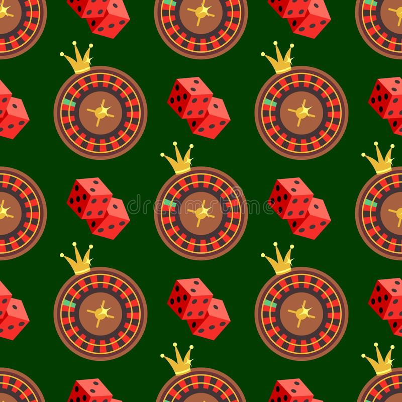 Nahtloses Muster des Kasinos und des Pokers mit Würfeln und Roulette auf Grün vektor abbildung