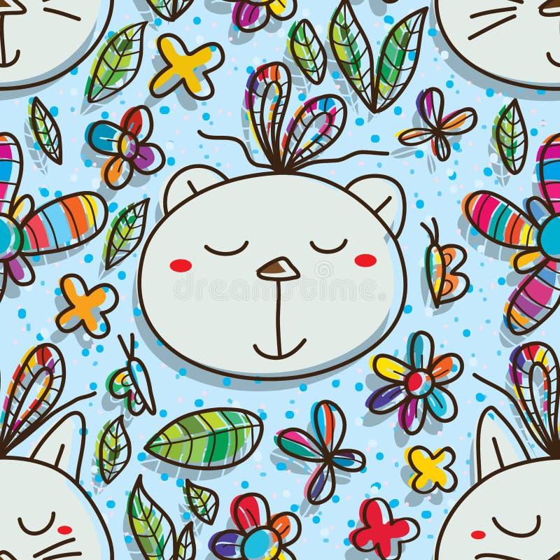 Nahtloses Muster des Katzenbärn-Geschenks lizenzfreie abbildung