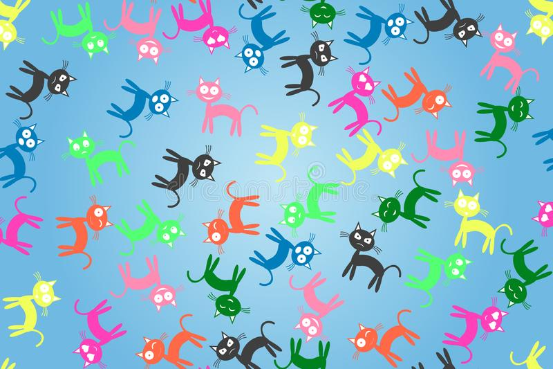 Nahtloses Muster des Katzengefühls Auch im corel abgehobenen Betrag stockbild