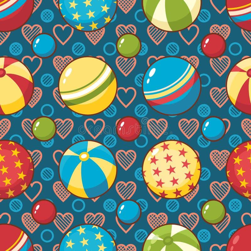 Nahtloses Muster des Kinderspielzeugs Gestaltungselement für Postkarte, Fahne, Flieger stock abbildung