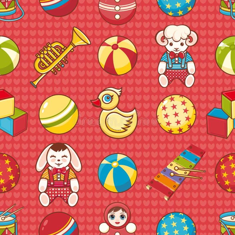 Nahtloses Muster des Kinderspielzeugs Gestaltungselement für Postkarte, Fahne, Flieger vektor abbildung