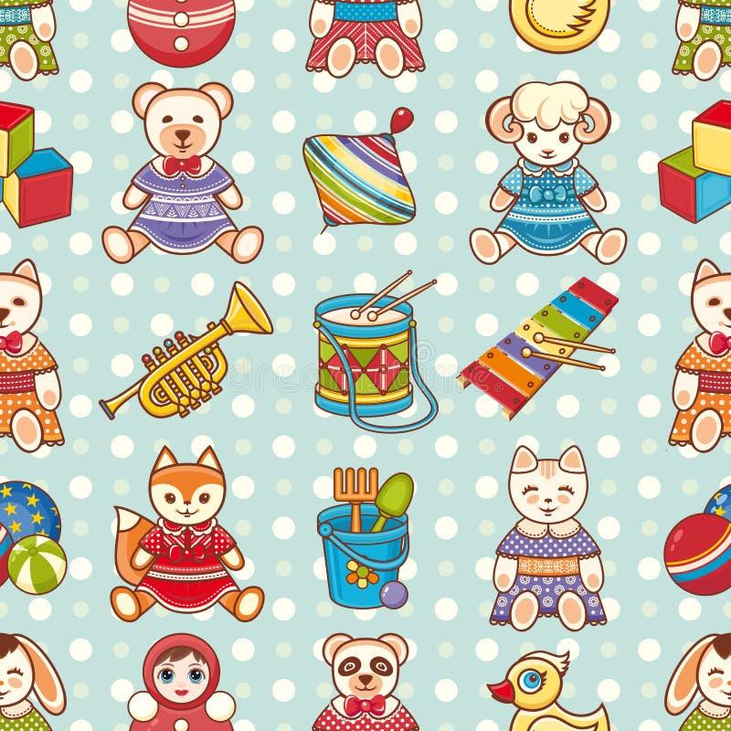 Nahtloses Muster des Kinderspielzeugs Vektorbild, Abbildung stock abbildung