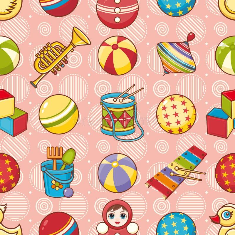 Nahtloses Muster des Kinderspielzeugs Vektorbild, Abbildung lizenzfreie abbildung