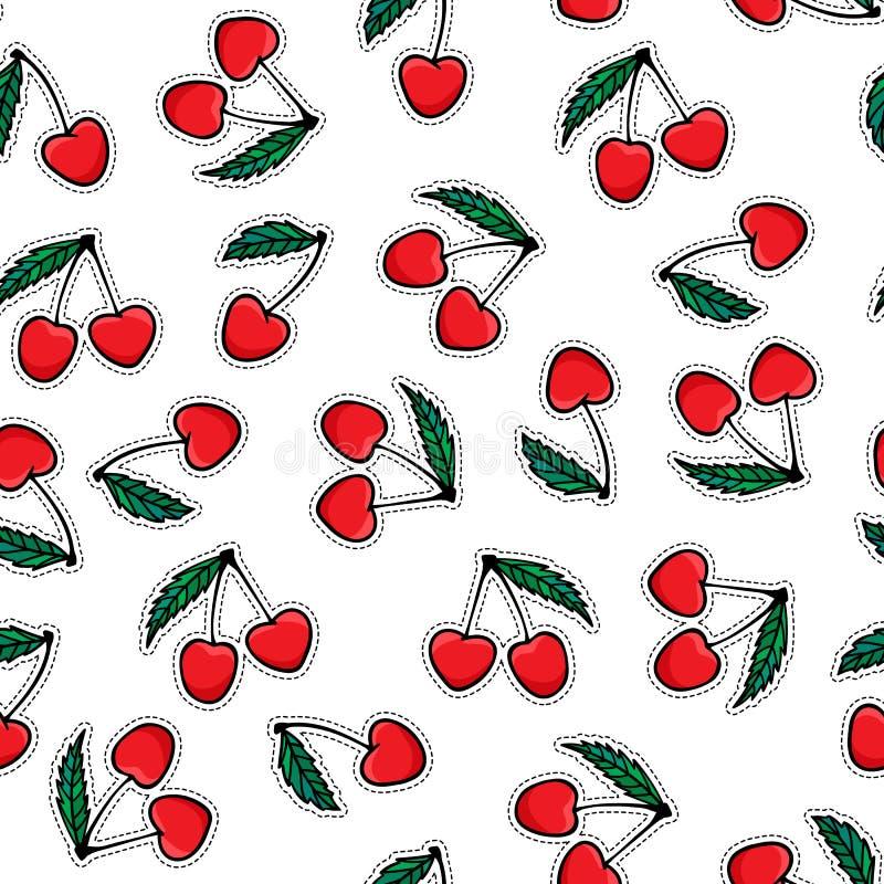 Nahtloses Muster des Kirschaufklebers Helle Beere der Vektorhandzeichnung mit Blattaufkleber Entwurfsoberfläche lokalisiert auf w lizenzfreie abbildung